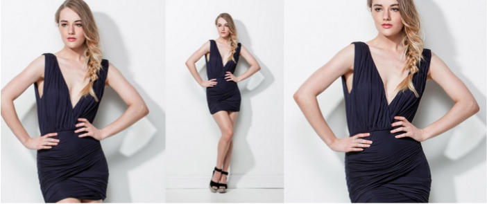 model in black dress three different crops one on the left looks like a mistake