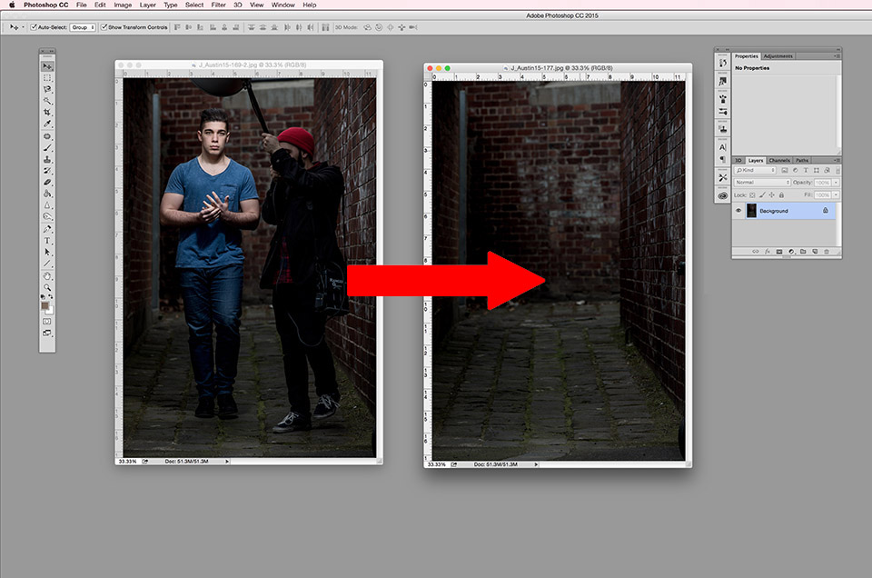 side by side image of hero shot with model in next to the clean background in the photoshop platform