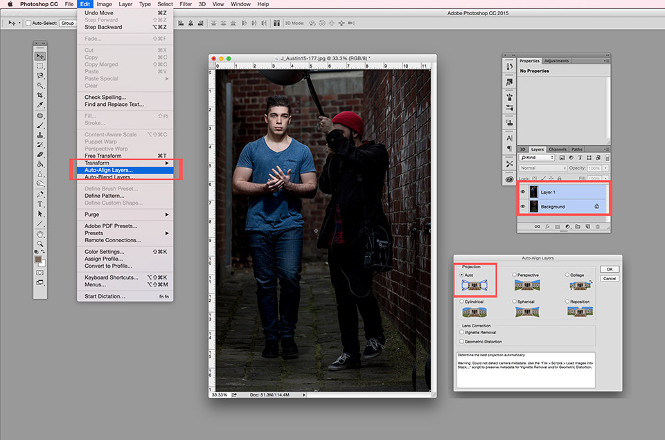 image that shows you how to align the two layers in Photoshop