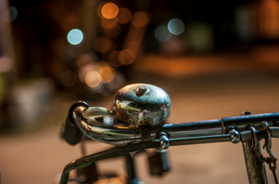 bike bell shot with street lights