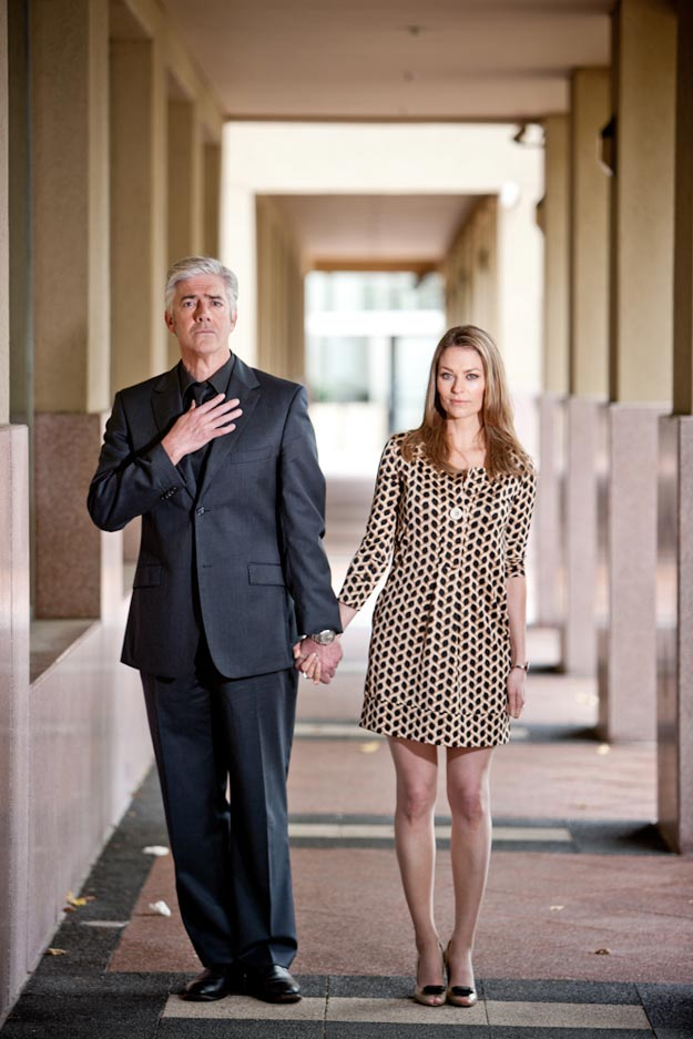 Above: Shaun Micallef and Kat Stewart shot by Gina Milicia A small 50cm x 50cm softbox