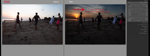 Two images side by side. One shot RAW the other JPEG