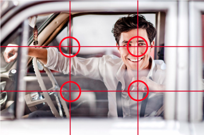 Photo of a man taken through a car window with the image overlaid with three rows and three columns to demonstrate the rule of thirds.