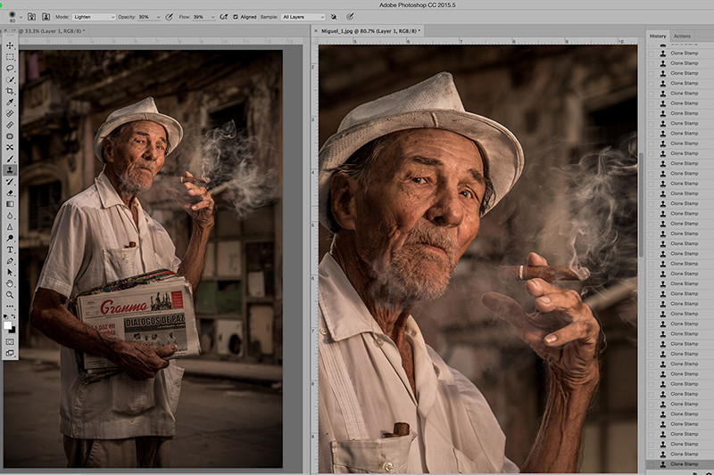 Above: I photographed this portrait of Miguel in Havana, Cuba using my Canon 5DMK111 F5.6 @1/200th sec ISO 200. Image using my Lightroom preset, Cuban Cigar Dark from my Awesome preset pack