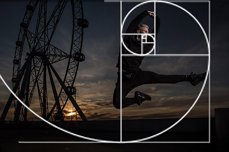 Above: In photography and art, if you divide an image according to the mathematical formula: 1 + 1 + 2 + 3 + 5 + 8 and place the important part of your image in the smallest square, you will have a visually pleasing image. Get your own free Fibonacci template here and test it out.