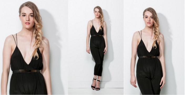 model in a black dress example of three different crops