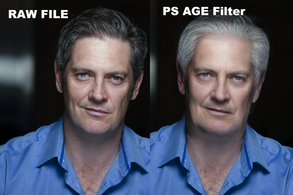 Two side by side images of the same white man with grey hair and an open collared blue shirt. On the left, his face is neutral. On the right, the photoshop age filter has been applied. His hair is greyer and his jowls are more pronounced. His skin has been smoothed and brightened by the filter.