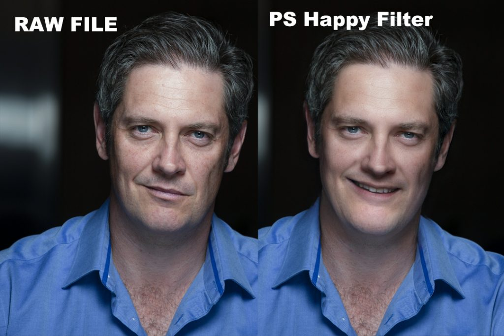 Two side by side images of a white man with grey hair and a blue open shirt collar. On the left, he has a neutral expression. On the right, there is a photoshopped smile.
